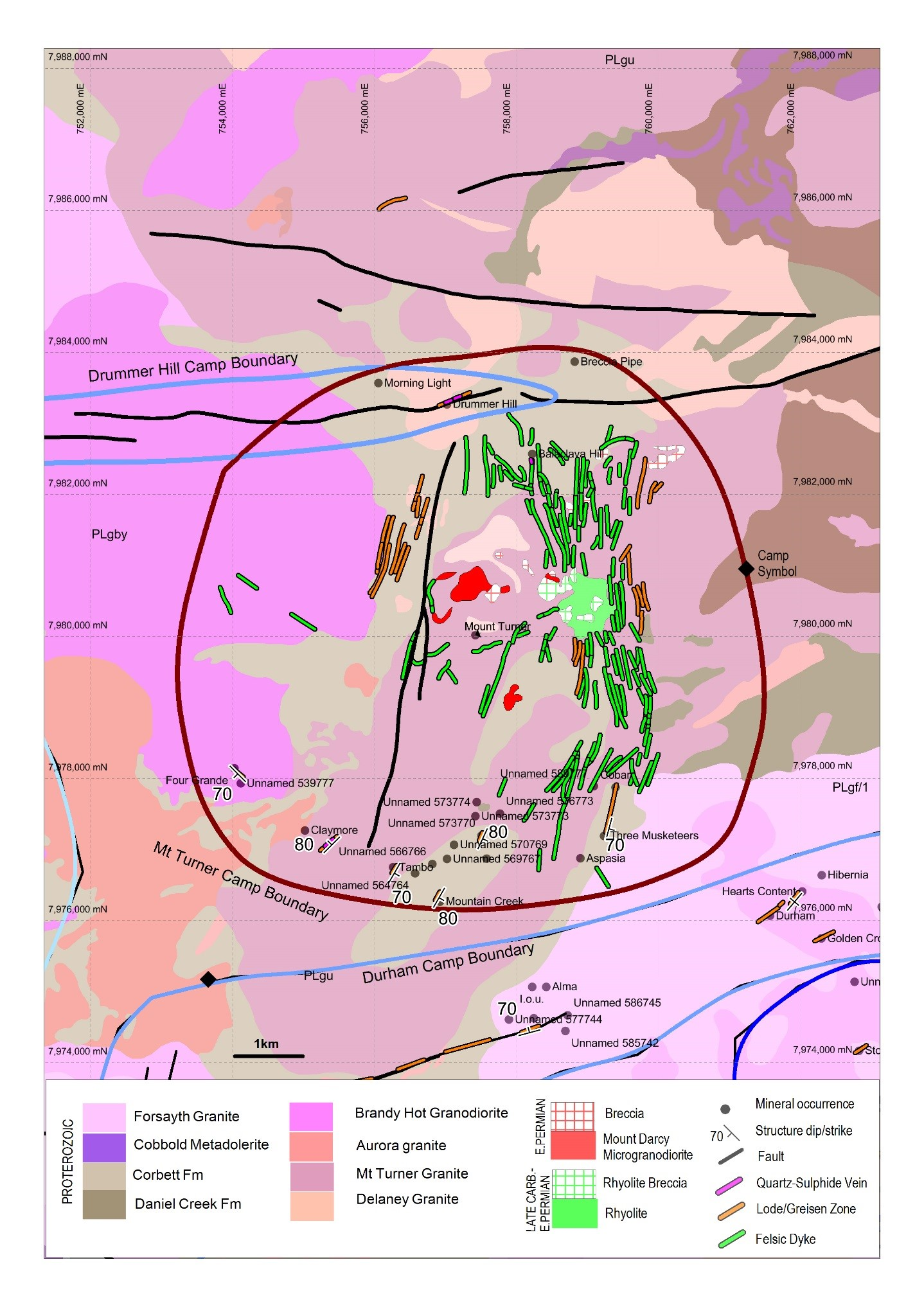 Figure 2 Mount Turner Camp. Example of GIS data available for the Georgetown Metallogenic Study area i.e. geology, structure, dyke – lode – vein orientations, mineral occurrence locations etc