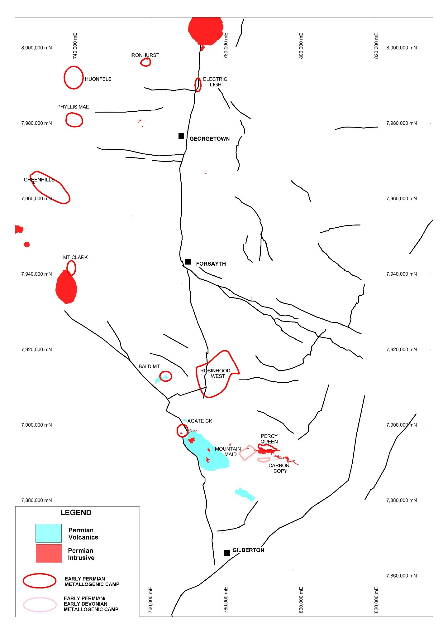 Figure 28: Permian geology with Permian metallogenic camps