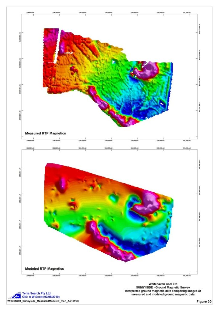 Actual (top) Vs Modeled (bottom) High Resolution Ground Magnetic Survey 10m line spacing Gunnedah Basin Coal RTP