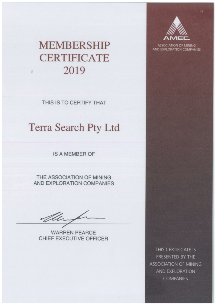 Terrasearch's Association of Mining and Exploration Companies (AMEC) Membership