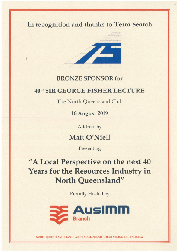 Terrasearch Sponsor AusIMM Sir George Fisher Lecture